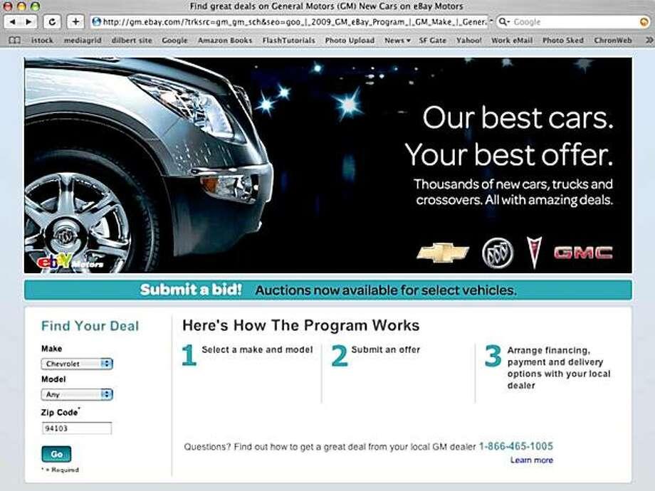 Screen grab from the General Motors eBay site Photo: GM.eBAy.com, GM.eBay,com