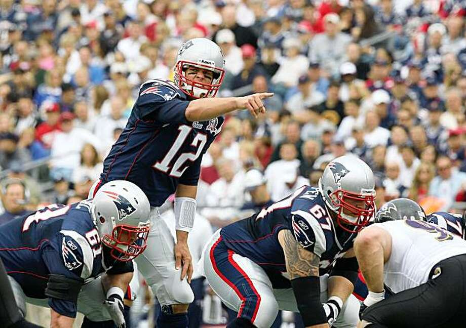 FOXBORO, MA - OCTOBER 4:  Tom Brady #12 of the New England Patriots gestures during a game against the Baltimore Ravens at Gillette Stadium on October 4, 2009 in Foxboro, Massachusetts. (Photo by Jim Rogash/Getty Images) Photo: Jim Rogash, Getty Images