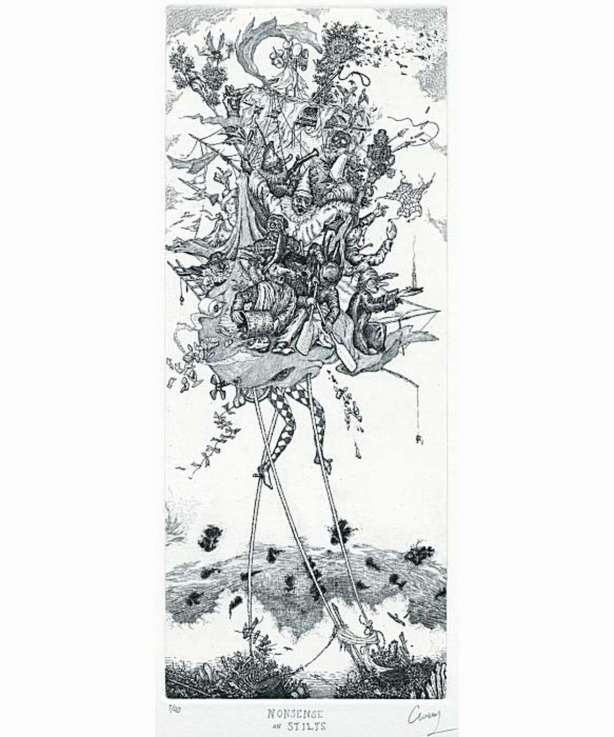 """""""Nonsense on Stilts"""" (2007) etching on paper by David Avery edition of 40 18"""" x 9.5"""""""