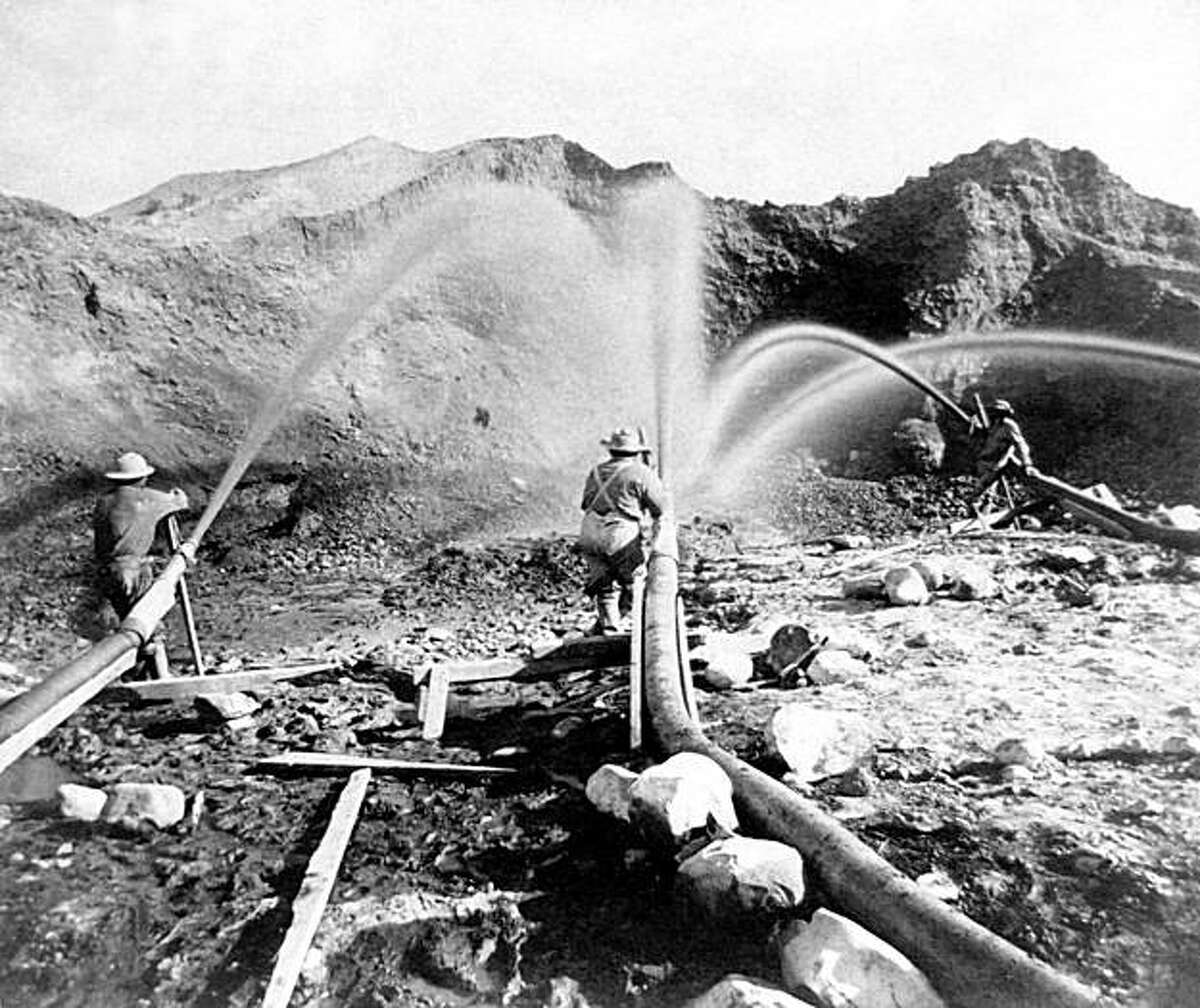 Miners near French Corral in Nevada County, California, located in the Sierra Nevada, use water hoses to wash gold away in this picture dated circa 1866. A new report from the San Francisco Estuary Institute shows the huge quantity of mining sediments that has been moving through San Francisco Bay since the Gold Rush has been depleted, abruptly leading to a bay that is significantly clearer.