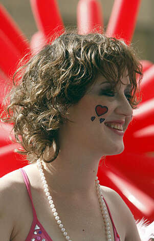 Courtney Housel was one of thousands who attended LovEvolution in San Francisco on Saturday. Photo: Frederic Larson, The Chronicle