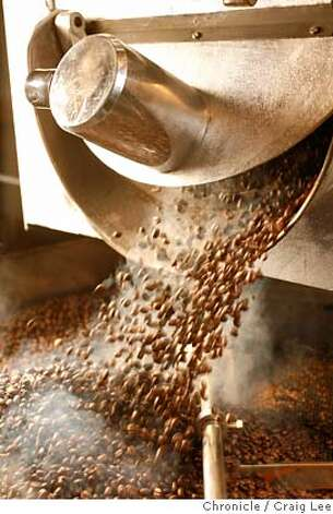 ###Live Caption:Coffee beans roasted by Alex Roberts with a vintage machine he just fixed up, in Emeryville, Calif., on April 16, 2008. Andrew Green, Wine and Spirits Director at Bacchus Group, which owns Spruce restaurant and Village Pub is starting a coffee roasting company with Alex Roberts, who has been a roaster at local coffee companies.  Photo by Craig Lee / The San Francisco Chronicle###Caption History:Coffee beans roasted by Alex Roberts with a vintage machine he just fixed up, in Emeryville, Calif., on April 16, 2008. Andrew Green, Wine and Spirits Director at Bacchus Group, which owns Spruce restaurant and Village Pub is starting a coffee roasting company with Alex Roberts, who has been a roaster at local coffee companies.  Photo by Craig Lee / The San Francisco Chronicle###Notes:Andrew Green 415-515-2429  Craig Lee 415-218-8597 clee@sfchronicle.com###Special Instructions:MANDATORY CREDIT FOR PHOTOG AND SF CHRONICLE/NO SALES-MAGS OUT Photo: Photo By Craig Lee