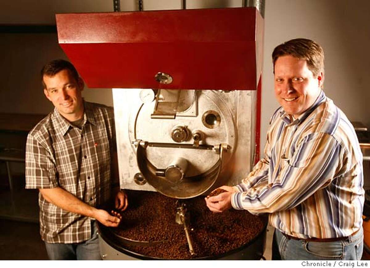 ###Live Caption:Coffee beans roasted by Alex Roberts (left) with a vintage machine he just fixed up. Andrew Green (right), Wine and Spirits Director at Bacchus Group, which owns Spruce restaurant and Village Pub is starting a coffee roasting company with Alex Roberts, who has been a roaster at local coffee companies. Photo by Craig Lee / The San Francisco Chronicle###Caption History:Coffee beans roasted by Alex Roberts (left) with a vintage machine he just fixed up. Andrew Green (right), Wine and Spirits Director at Bacchus Group, which owns Spruce restaurant and Village Pub is starting a coffee roasting company with Alex Roberts, who has been a roaster at local coffee companies. Photo by Craig Lee / The San Francisco Chronicle###Notes:Andrew Green 415-515-2429 Craig Lee 415-218-8597 clee@sfchronicle.com###Special Instructions:MANDATORY CREDIT FOR PHOTOG AND SF CHRONICLE/NO SALES-MAGS OUT