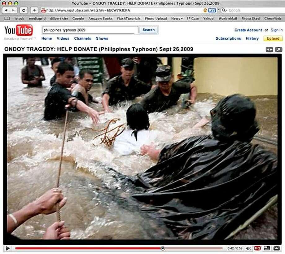 screen grab of Typhoon Ondoy hitting the Philippines, September 26, 2009 Photo: Youtube.com