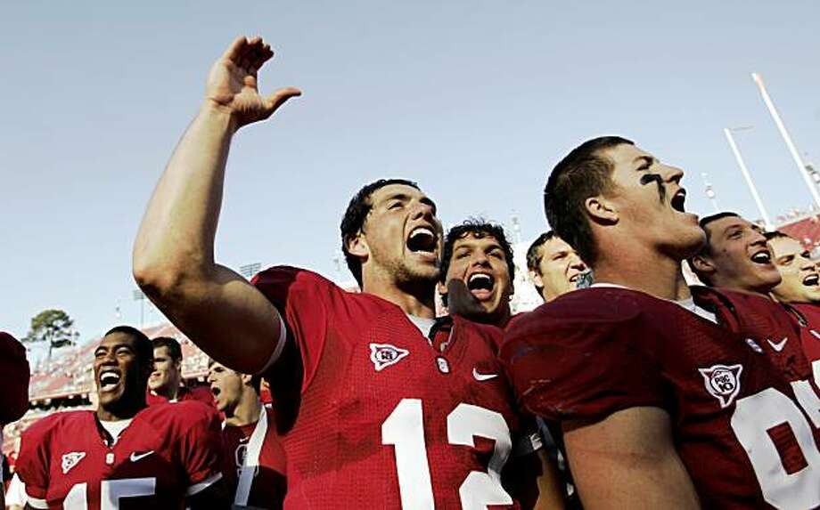 Stanford quarterback Andrew Luck, center, celebrates with teammates after Stanford defeated UCLA 24-16 in an NCAA football game in Stanford, Calif., Saturday, Oct. 3, 2009. (AP Photo/Paul Sakuma) Photo: Paul Sakuma, AP