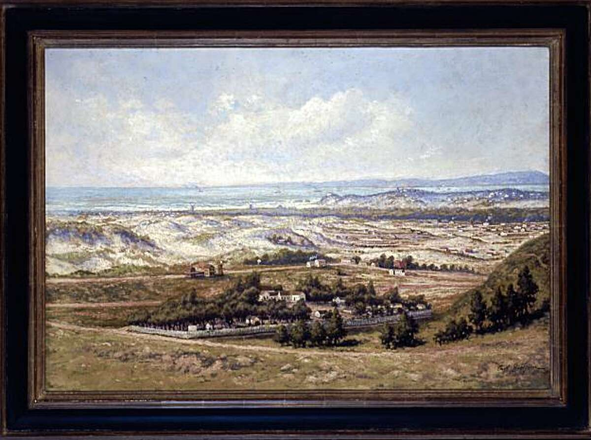 This 1905 painting by Carl Dahlgren of Larsen's Chicken Farm in the Sunset District of San Francisco is part of the