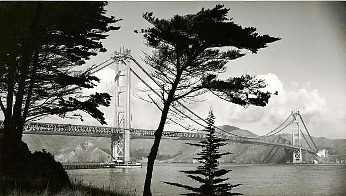 Ted Huggins' 1937 photograph of the Golden Gate Bridge before completion is part of the exhibition