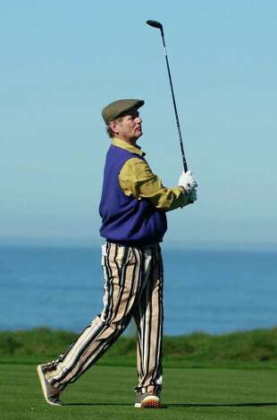 Actor Bill Murray hits from the fourth tee at Spyglass Hill Golf Course during the first round of the AT&T Pebble Beach National Pro-Am golf tournament in Pebble Beach, Calif., Thursday, Feb. 9, 2012. Photo: Jeff Chiu