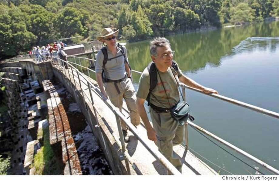 ###Live Caption:The Hike continued across the Searsville Dam and up to the leslie Shao-Ming Sun Field Station On Saturday April 26 2008 in Stanford, Calif Photo By Kurt Rogers / San Francisco Chronicle###Caption History:The Hike continued across the Searsville Dam and up to the leslie Shao-Ming Sun Field Station On Saturday April 26 2008 in Stanford, Calif Photo By Kurt Rogers / San Francisco Chronicle###Notes:Hike around Stanford to illustrate the history of water rights and battles in California###Special Instructions:MANDATORY CREDIT FOR PHOTOG AND SAN FRANCISCO CHRONICLE/NO SALES-MAGS OUT Photo: Kurt Rogers