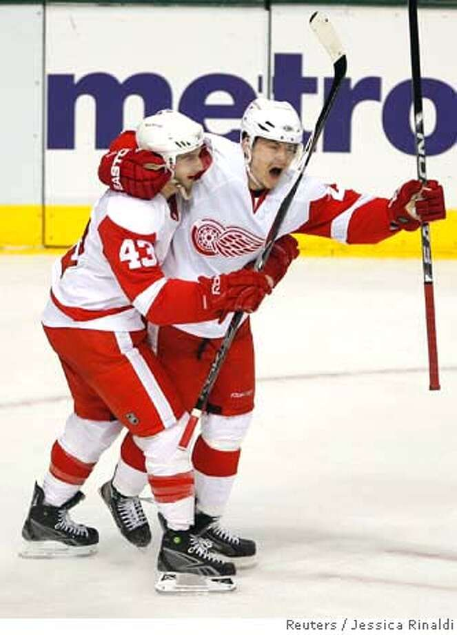 ###Live Caption:Detroit Red Wings Jiri Hudler (R) celebrates his goal with Darren Helm during the second period of play against the Dallas Stars in Game 3 of their NHL Western Conference Final hockey series in Dallas, Texas May 12, 2008. REUTERS/Jessica Rinaldi (UNITED STATES)###Caption History:Detroit Red Wings Jiri Hudler (R) celebrates his goal with Darren Helm during the second period of play against the Dallas Stars in Game 3 of their NHL Western Conference Final hockey series in Dallas, Texas May 12, 2008. REUTERS/Jessica Rinaldi (UNITED STATES)###Notes:Red Wings Hudler celebrates his goal with Helm during the second period of play against the Stars in Game 3 of their NHL Western Conference Final in Dallas###Special Instructions:0 Photo: JESSICA RINALDI