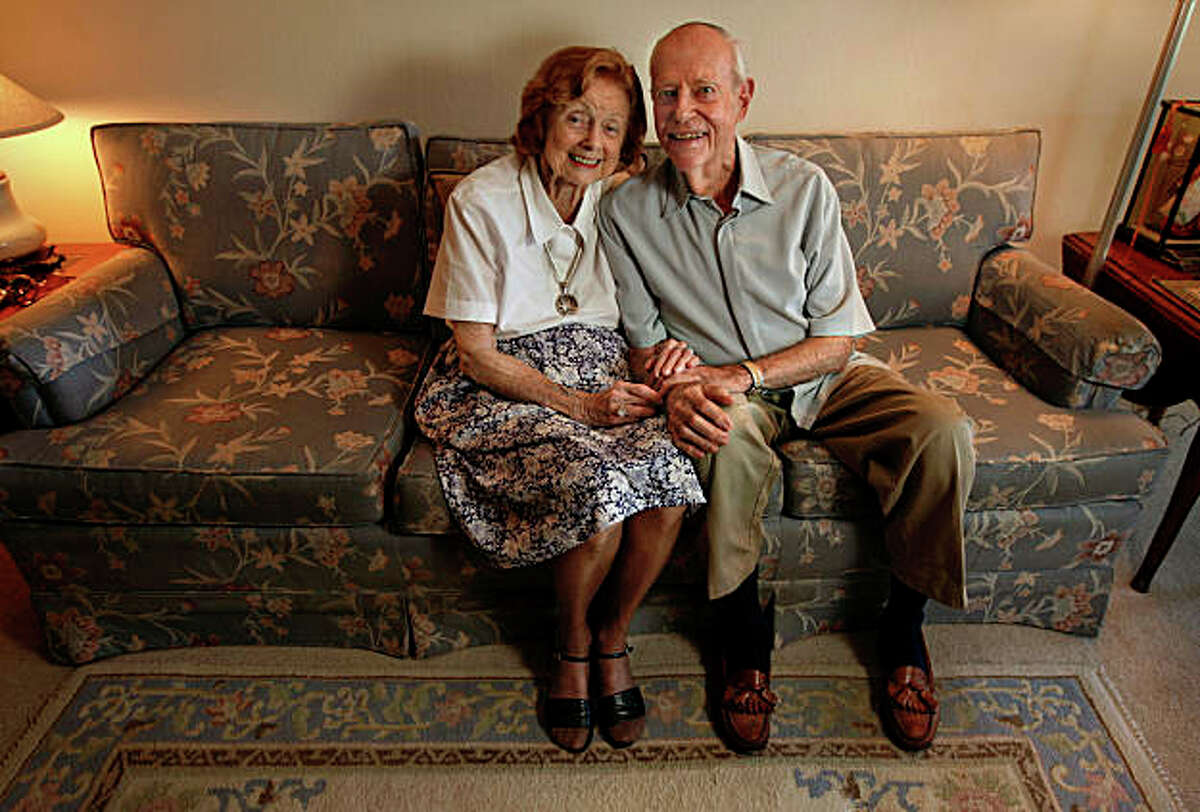 On the couch with Audrey and Woody Woodman, who have been married for 69 years, the long-time couple in their Roosmoor home, in Walnut Creek, Calif., on Tuesday September 22, 2009.