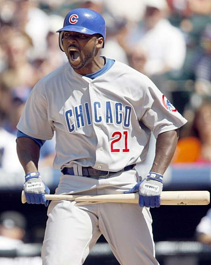 Chicago Cubs' Milton Bradley reacts after striking out against the Colorado Rockies to end the top half of the sixth inning of the Rockies' 11-5 victory in a baseball game in Denver on Sunday, Aug. 9, 2009. (AP Photo/David Zalubowski) Photo: David Zalubowski, AP