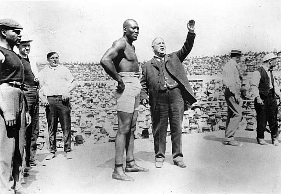 World Heavyweight Champion Jack Johnson prepares to defend his title.
