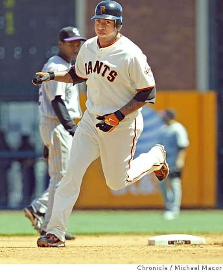 The Giants Jose Castillo rounds the bases after his solo home run in the 7th inning to put San Francisco up 3-2, during a game against the Colorado Rockies, on April 30, 2008, in San Francisco, Calif.  Photo by Michael Macor/ San Francisco Chronicle Photo: Michael Macor
