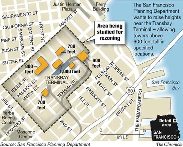 Area being studied for rezoning. Chronicle Graphic