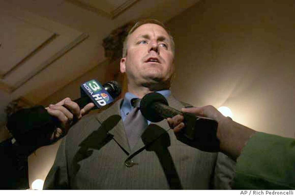 ###Live Caption:State Sen. Jeff Denham, R-Merced, talks with reporters about the stalled state budget at the Capitol in Sacramento, Calif., Monday, Aug. 20, 2007. Denham is one of two Republican Senators that Democrats have trying to provide the final two votes to pass the 2007-08 budget that is now almost two months over due. (AP Photo/Rich Pedroncelli)###Caption History:State Sen. Jeff Denham, R-Merced, talks with reporters about the stalled state budget at the Capitol in Sacramento, Calif., Monday, Aug. 20, 2007. Denham is one of two Republican Senators that Democrats have trying to provide the final two votes to pass the 2007-08 budget that is now almost two months over due. (AP Photo/Rich Pedroncelli) Ran on: 08-22-2007 Ran on: 08-22-2007 Ran on: 04-23-2008 Mayor Gavin Newsom and Jennifer Siebel at a Giants game.###Notes:###Special Instructions: