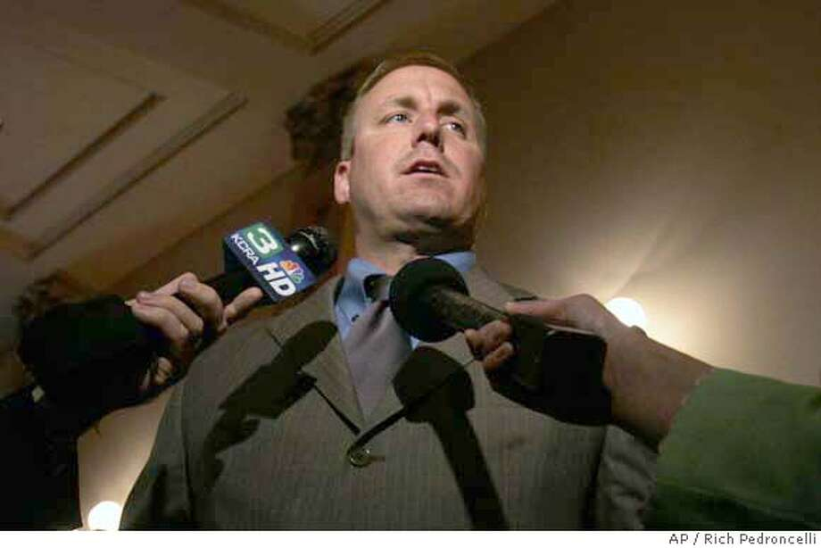 ###Live Caption:State Sen. Jeff Denham, R-Merced, talks with reporters about the stalled state budget at the Capitol in Sacramento, Calif., Monday, Aug. 20, 2007. Denham is one of two Republican Senators that Democrats have trying to provide the final two votes to pass the 2007-08 budget that is now almost two months over due. (AP Photo/Rich Pedroncelli)###Caption History:State Sen. Jeff Denham, R-Merced, talks with reporters about the stalled state budget at the Capitol in Sacramento, Calif., Monday, Aug. 20, 2007. Denham is one of two Republican Senators that Democrats have trying to provide the final two votes to pass the 2007-08 budget that is now almost two months over due. (AP Photo/Rich Pedroncelli)  Ran on: 08-22-2007 Ran on: 08-22-2007 Ran on: 04-23-2008  Mayor Gavin Newsom and Jennifer Siebel at a Giants game.###Notes:###Special Instructions: Photo: Rich Pedroncelli