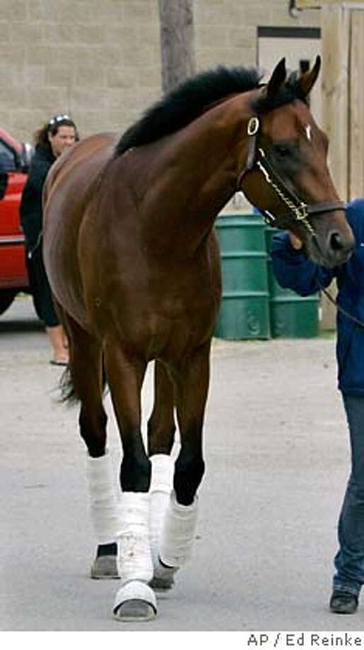 ###Live Caption:Kentucky Derby hopeful Big Brown is led to his barn by exercise rider Michelle Nevin after arriving from Florida at Churchill Downs in Louisville, Ky., Monday, April 28, 2008. (AP Photo/Ed Reinke)###Caption History:Kentucky Derby hopeful Big Brown is led to his barn by exercise rider Michelle Nevin after arriving from Florida at Churchill Downs in Louisville, Ky., Monday, April 28, 2008. (AP Photo/Ed Reinke)###Notes:Big Brown, Michelle Nevin###Special Instructions:EFE OUT Photo: Ed Reinke
