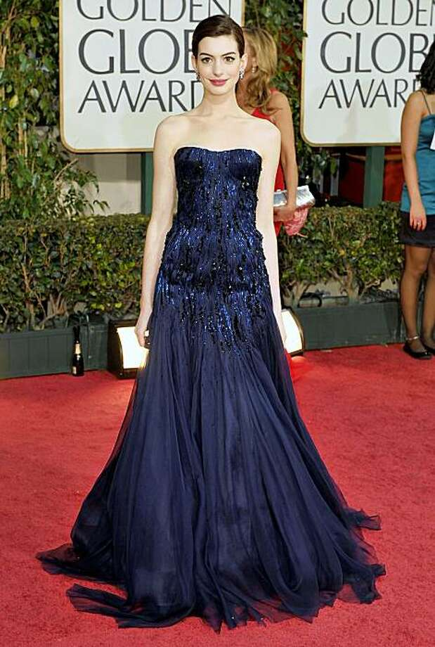 This Armani Prive gown, worn here by Anne Hathaway to the 2009 Golden Globe Awards, will be on display at the Giorgio Armani boutique on Post St. Oct 1. to Oct. 7, 2009 as part of a traveling exhibit. BEVERLY HILLS, CA - JANUARY 11:  Actress Anne Hathaway arrives at the 66th Annual Golden Globe Awards held at the Beverly Hilton Hotel on January 11, 2009 in Beverly Hills, California.  (Photo by Steve Granitz/WireImage) Photo: Courtesy , Giorgio Armani