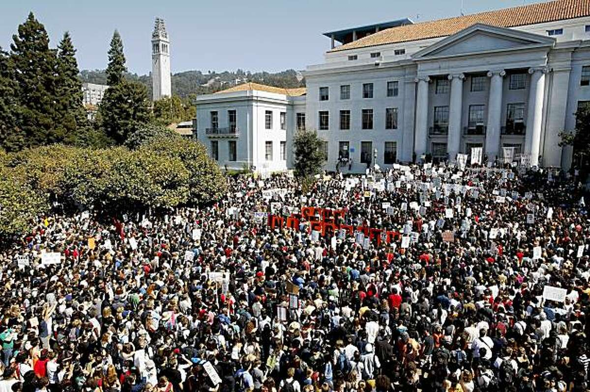 Students and faculty fill Sproul Plaza on the UC Berkeley campus as they stage a walkout in protest of recent budget cuts and fee hikes Wednesday.