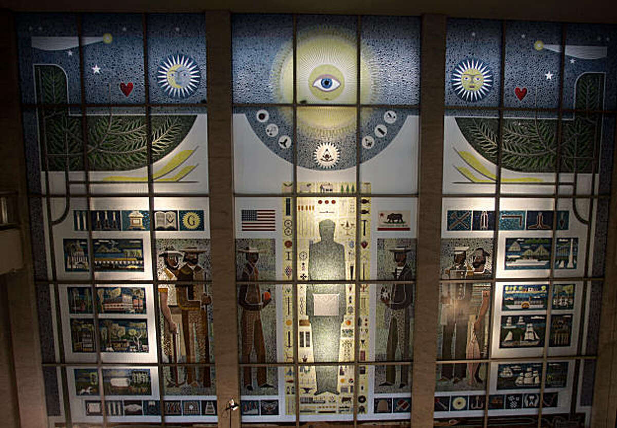 The 4-story tall crush-glass mural at San Francisco's Masonic Auditorium, created by Big Sur sculptor Emile Norman on November 3, 2005.