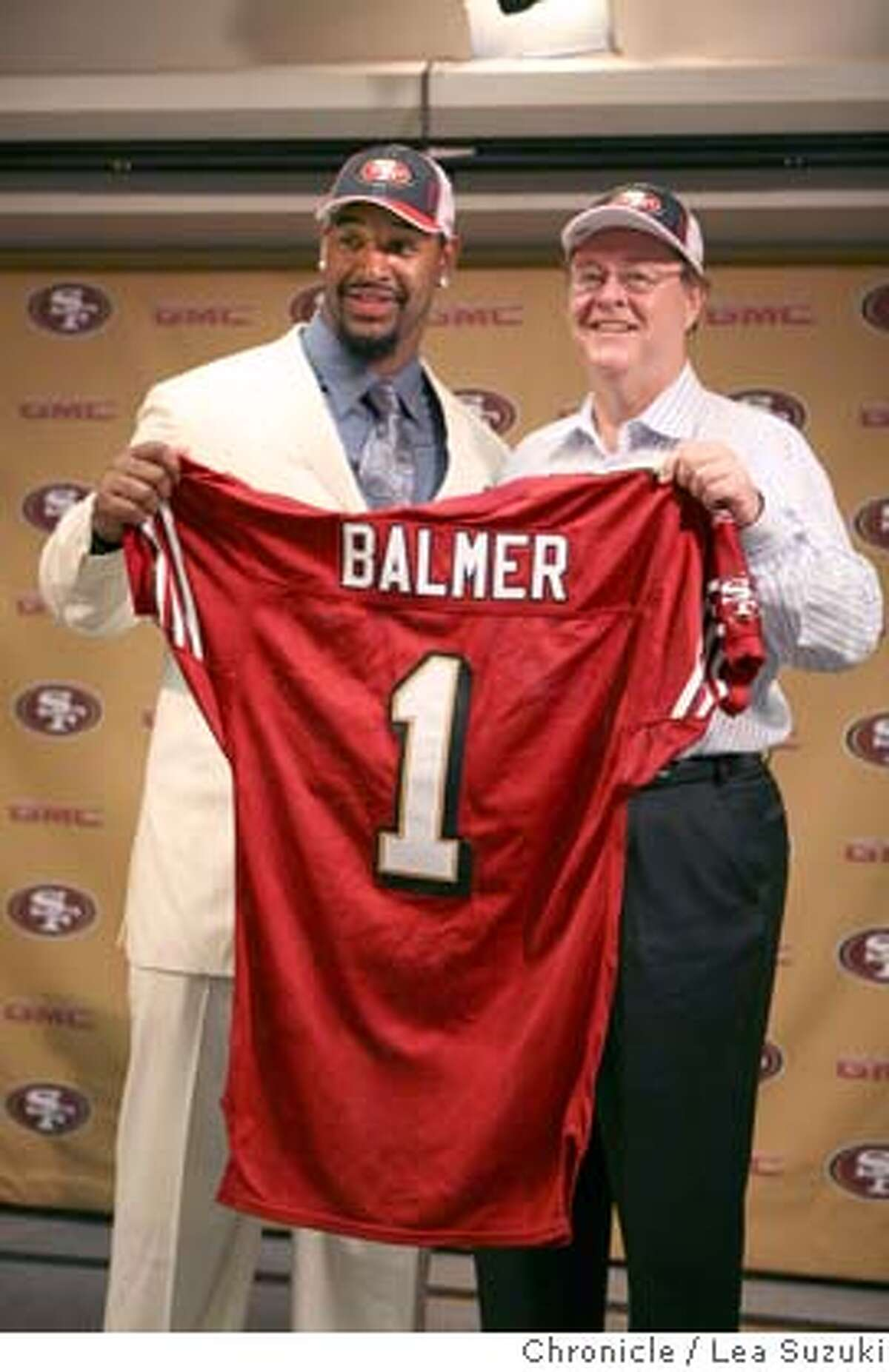 Kentwan Balmer and Owner John York (left to right) pose with a jersey at a news conference at 49er Headquarters on Monday, April 28, 2008 in Santa Clara, Calif. With their first pick in the draft, 29th overall, the San Francisco 49ers picked defensive tackle Kentwan Balmer of North Carolina on draft day. Photo By Lea Suzuki/ San Francisco Chronicle