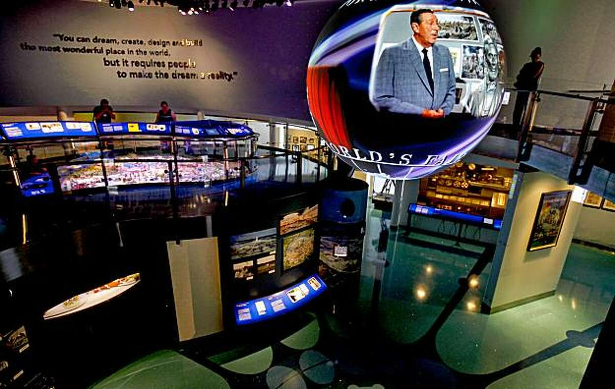 A projection of Walt Disney greets visitors to gallery 9 during the grand opening of the Disney Family Museum on Thursday October 1, 2009 in San Francisco, Calif.