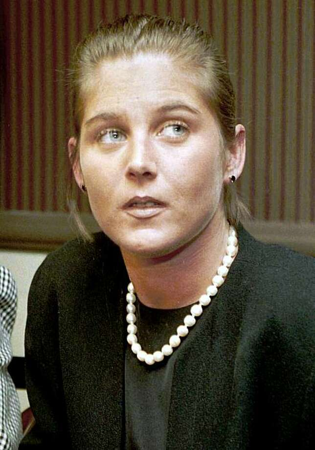 FILE -- Anne Morell Petrillo is shown during a news conference in this March 31, 1994 file photo. A body believed to be Petrillo's was found Sunday in the Hudson River, beneath the Tappan Zee Bridge 24 miles north of New York City. Her BMW had been found on the bridge Thursday with a suicide note inside. (AP Photo/Marty Lederhandler, File) Photo: Marty Lederhandler, AP