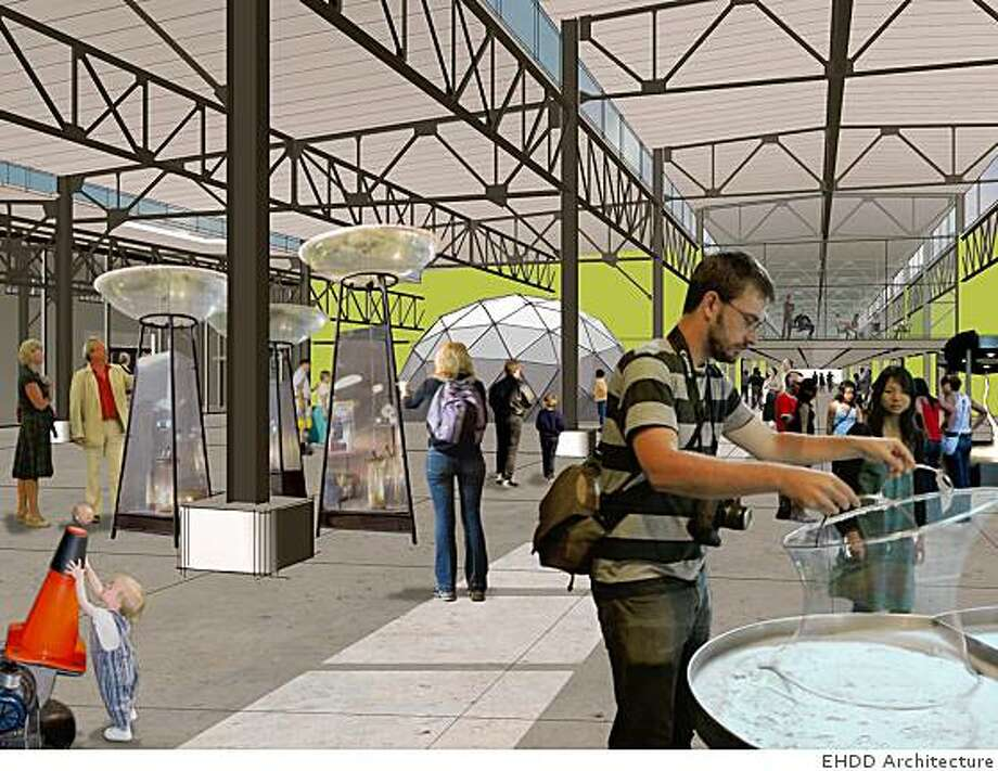 An artist rendering shows what the Exploratorium might look like inside a section of Pier 15 in San Francisco. Photo: EHDD Architecture