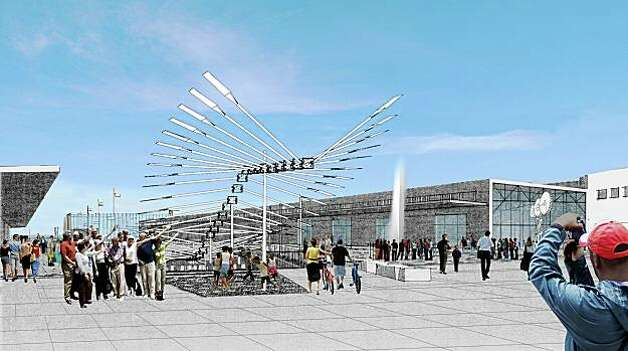 "An artist rendering shows what a hypothetical outdoor Exploratorium ""exhibit"" might look like at Pier 15. Photo: EHDD Architecture"