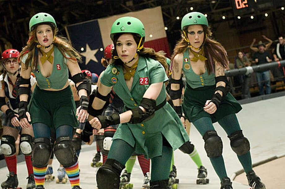 From left: Drew Barrymore, Ellen Page and Kristen Wiig in Whip It. Photo: Darren Michaels, Fox Searchlight