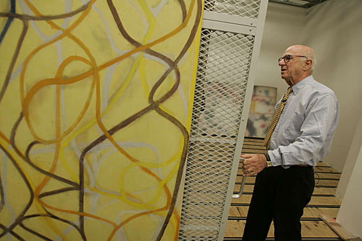 """SFMUSEUM08_291_MBK.JPG Gap founder Don Fisher walks through his vast collection of art at the Gap headquarters in San Francisco, CA, on Tuesday, August, 7, 2007. Pictured is """"The Sisters,"""" 1991, by Brice Marden."""