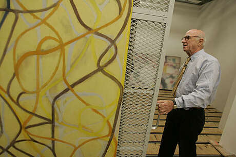"SFMUSEUM08_291_MBK.JPG Gap founder Don Fisher walks through his vast collection of art at the Gap headquarters in San Francisco, CA, on Tuesday, August, 7, 2007. Pictured is ""The Sisters,"" 1991, by Brice Marden."