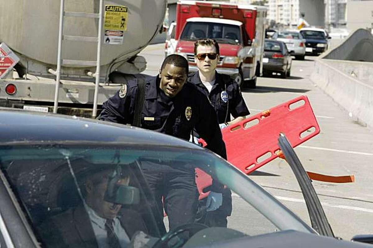 TRAUMA -- Pilot -- Pictured: (l-r) Derek Luke as Cameron Boone, Kevin Rankin as Tyler Briggs TRAUMA -- Pilot -- Pictured: (l-r) Derek Luke as Cameron Boone, Kevin Rankin as Tyler Briggs -- NBC Photo: Chris Haston