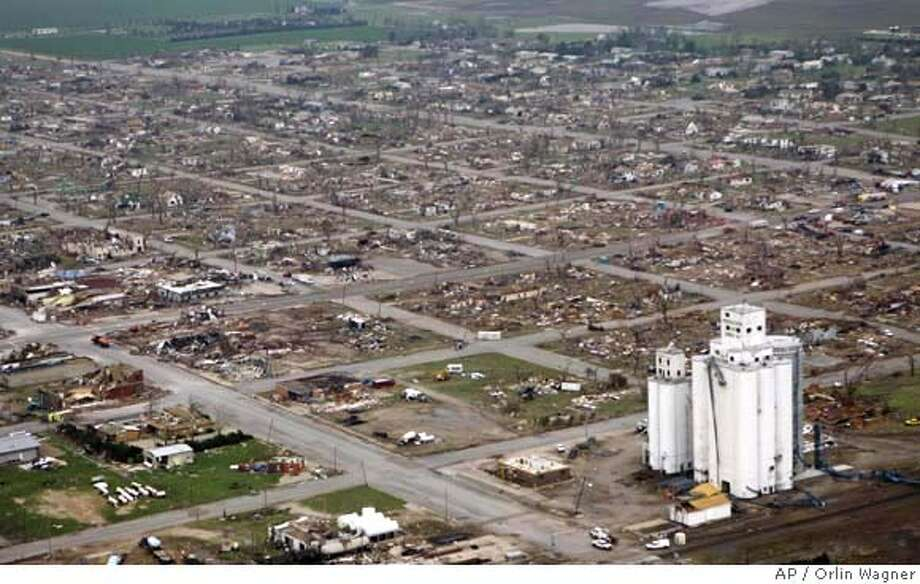 ###Live Caption:Widespread destruction is shown in Greensburg, Kan., Saturday, May 5, 2007. Most of this southwest Kansas town was destroyed by a tornado, part of a violent storm system blamed for at least nine deaths, officials said Saturday amid warnings of more severe weather. The tornado that struck Greensburg late Friday damaged about 95 percent of the town about 110 miles west of Wichita and 50 miles north of the Oklahoma state line, City Administrator Steve Hewitt said Saturday. (AP Photo/Orlin Wagner)###Caption History:Widespread destruction is shown in Greensburg, Kan., Saturday, May 5, 2007. Most of this southwest Kansas town was destroyed by a tornado, part of a violent storm system blamed for at least nine deaths, officials said Saturday amid warnings of more severe weather. The tornado that struck Greensburg late Friday damaged about 95 percent of the town about 110 miles west of Wichita and 50 miles north of the Oklahoma state line, City Administrator Steve Hewitt said Saturday. (AP Photo/Orlin Wagner)  Ran on: 05-06-2007  Greensburg, Kan., virtually destroyed by an F-4 or F-5 tornado late Friday night, had more tornadoes in the area Saturday night.  Ran on: 05-06-2007  Greensburg, Kan., virtually destroyed by an F-4 or F-5 tornado late Friday night, had more tornadoes in the area Saturday night.###Notes:###Special Instructions: Photo: Orlin Wagner