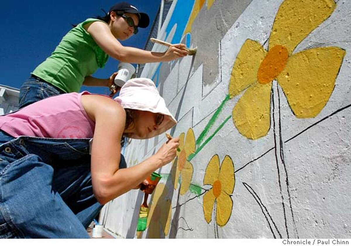 ###Live Caption:Sandy Kao, top, and Danielle Vogt paint a mural at Daniel Webster Elementary School in San Francisco, Calif., on Saturday, April 26, 2008. Volunteers from the Rebuilding Together organization spent the day adding a fresh coat of paint and worked in the garden at the school. Photo by Paul Chinn / San Francisco Chronicle###Caption History:Sandy Kao, top, and Danielle Vogt paint a mural at Daniel Webster Elementary School in San Francisco, Calif., on Saturday, April 26, 2008. Volunteers from the Rebuilding Together organization spent the day adding a fresh coat of paint and worked in the garden at the school. Photo by Paul Chinn / San Francisco Chronicle###Notes:Sandy Kao, Danielle Vogt###Special Instructions:MANDATORY CREDIT FOR PHOTOGRAPHER AND S.F. CHRONICLE/NO SALES - MAGS OUT