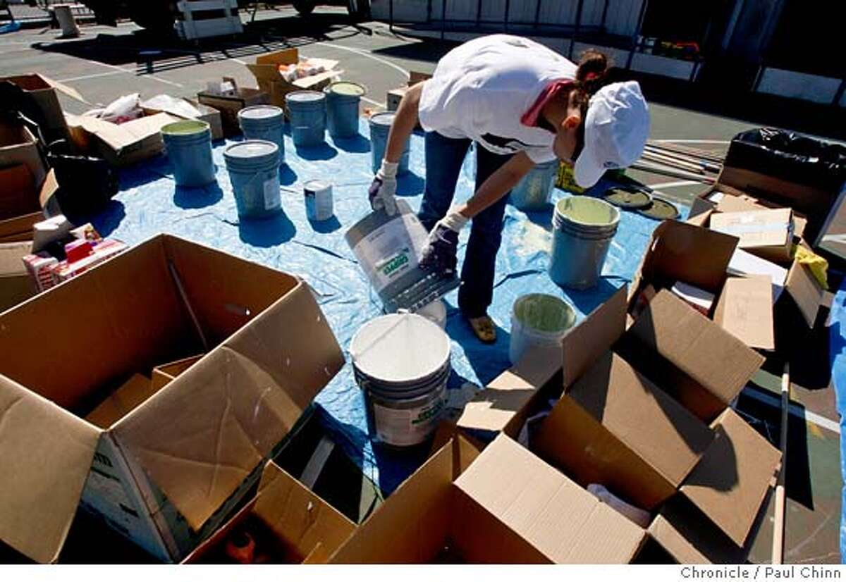 ###Live Caption:Wafaa Sabil mixes paint at Daniel Webster Elementary School in San Francisco, Calif., on Saturday, April 26, 2008. Volunteers from the Rebuilding Together organization spent the day renovating the school. Photo by Paul Chinn / San Francisco Chronicle###Caption History:Wafaa Sabil mixes paint at Daniel Webster Elementary School in San Francisco, Calif., on Saturday, April 26, 2008. Volunteers from the Rebuilding Together organization spent the day renovating the school. Photo by Paul Chinn / San Francisco Chronicle###Notes:Wafaa Sabil###Special Instructions:MANDATORY CREDIT FOR PHOTOGRAPHER AND S.F. CHRONICLE/NO SALES - MAGS OUT