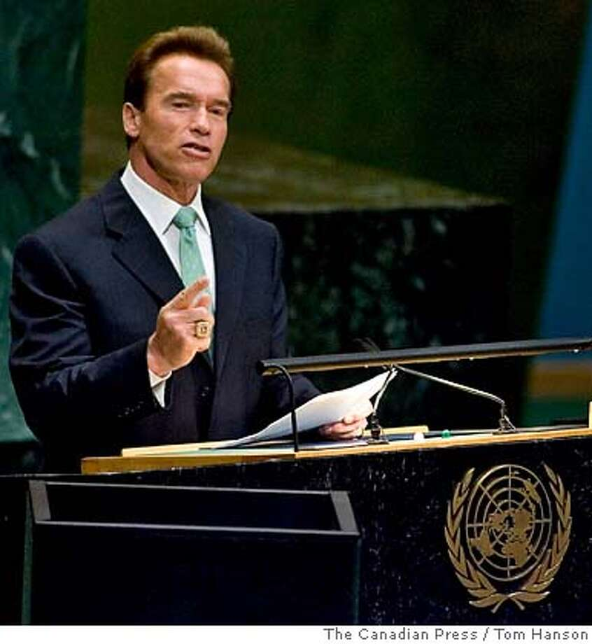###Live Caption:California Gov. Arnold Schwarzenegger delivers his speech on climate change at the United Nations headquarters Monday, Sept. 24, 2007. (AP Photo/The Canadian Press, Tom Hanson) Ran on: 10-16-2007 Schwarzenegger###Caption History:California Gov. Arnold Schwarzenegger delivers his speech on climate change at the United Nations headquarters Monday, Sept. 24, 2007. (AP Photo/The Canadian Press, Tom Hanson)  Ran on: 10-16-2007  Schwarzenegger###Notes:###Special Instructions: Photo: TOM HANSON