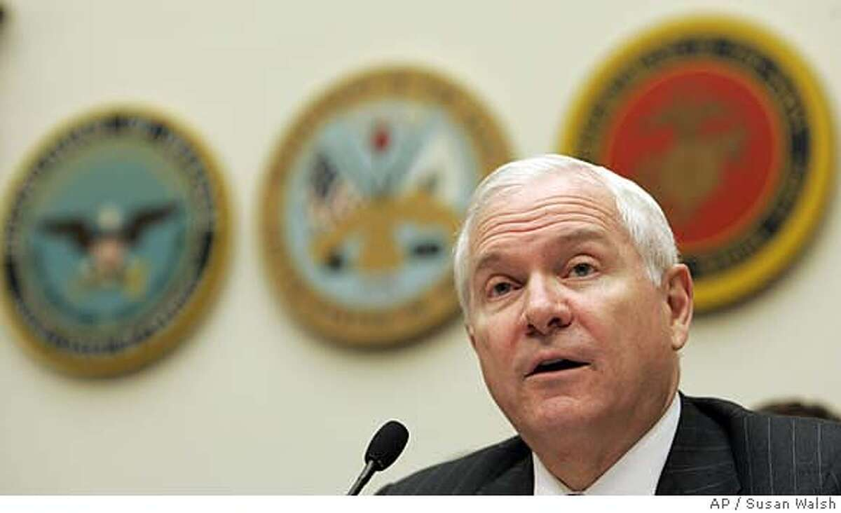 ###Live Caption:** FILE ** In this April 15, 2008 file photo, Defense Secretary Robert Gates testifies on Capitol Hill in Washington before the House Armed Services Committee. Gates said Monday, April 21,2008, that the Air Force is not doing enough to help in the Iraq and Afghanistan war effort, complaining that some military leaders are