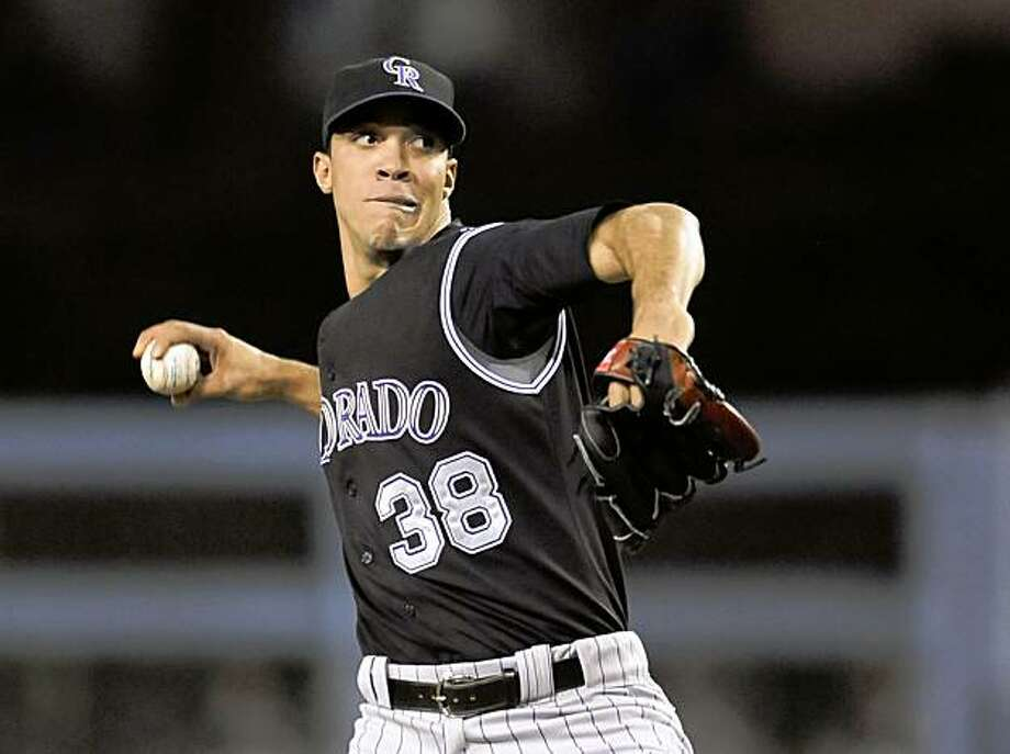 Colorado Rockies' Ubaldo Jimenez pitches during the first inning of a baseball game against the Los Angeles Dodgers, Friday, Oct. 2, 2009, in Los Angeles. (AP Photo/Gus Ruelas) Photo: Gus Ruelas, AP