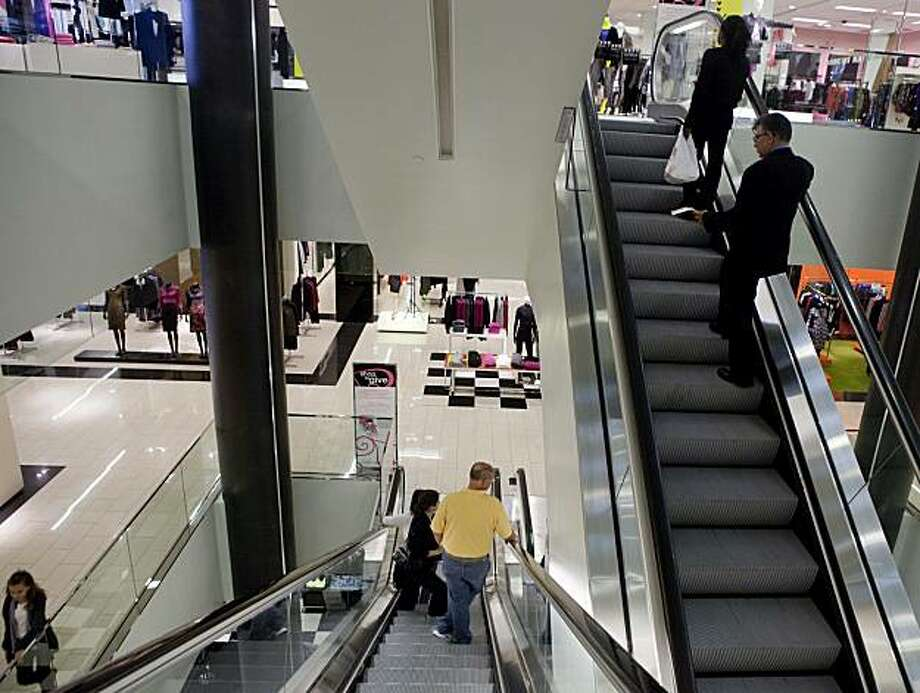 Customers rides the escalator at the Bloomingdale inside Westfield San Francisco Center  in San Francisco, Calif. on Tuesday, Sept. 29, 2009. A tax commission today will recommend to the governor and legislature that California do away with the state sales tax and corporate taxes and replace it with a new business receipts tax. While there would be no more state sales tax, county sales taxes are expected to remain in place. Photo: Stephen Lam, The Chronicle