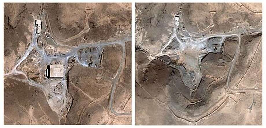 ** FILE ** These two satellite images made available by DigitalGlobe shows a suspected nuclear facility site in Syria before and after a Sept. 6, 2007 Israeli airstrike. The image at left is from Aug. 5, 2007, and the image at right is from Oct. 24, 2007. A U.S. official said Wednesday, April 23, 2008 that U.S. intelligence officials will show members of Congress a videotape laying out the evidence that Syria was building the nuclear reactor pictured here with North Korean assistance before it was bombed by Israeli planes in September 2007. (AP Photo/DigitalGlobe) ** MANDATORY CREDIT  NO SALES ** Photo: Digital Globe, AP