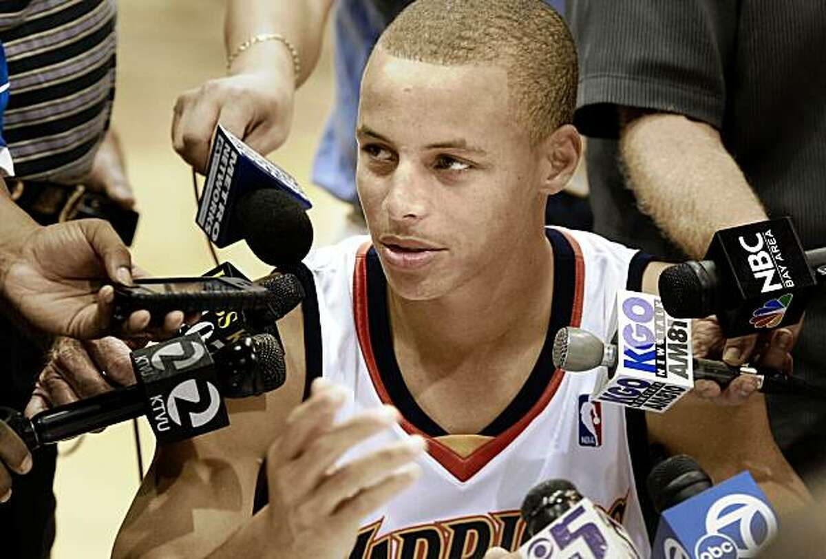 Rookie guard Stephen Curry had his first experience with Bay Area microphones. The annual Golden State Warriors media day was held at the Warriors practice facility at the Oakland Marriott hotel Monday September 28, 2009.
