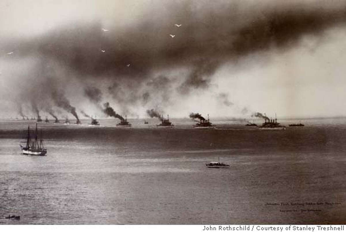 ###Live Caption:Photograph of the Atlantic fleet, sometimes called the Great White fleet, entering the Golden Gate on May 6, 1908. Photo by John Rothschild/courtesy of Stanley Treshnell###Caption History:Photograph of the Atlantic fleet, sometimes called the Great White fleet, entering the Golden Gate on May 6, 1908. Photo by John Rothschild/courtesy of Stanley Treshnell###Notes:###Special Instructions: