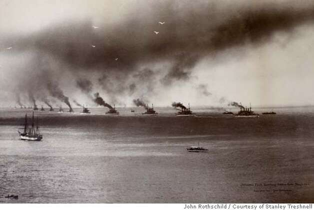 ###Live Caption:Photograph of the Atlantic fleet, sometimes called the Great White fleet, entering the Golden Gate on May 6, 1908. Photo by John Rothschild/courtesy of Stanley Treshnell###Caption History:Photograph of the Atlantic fleet, sometimes called the Great White fleet, entering the Golden Gate on May 6, 1908. Photo by John Rothschild/courtesy of Stanley Treshnell###Notes:###Special Instructions: Photo: John Rothschild