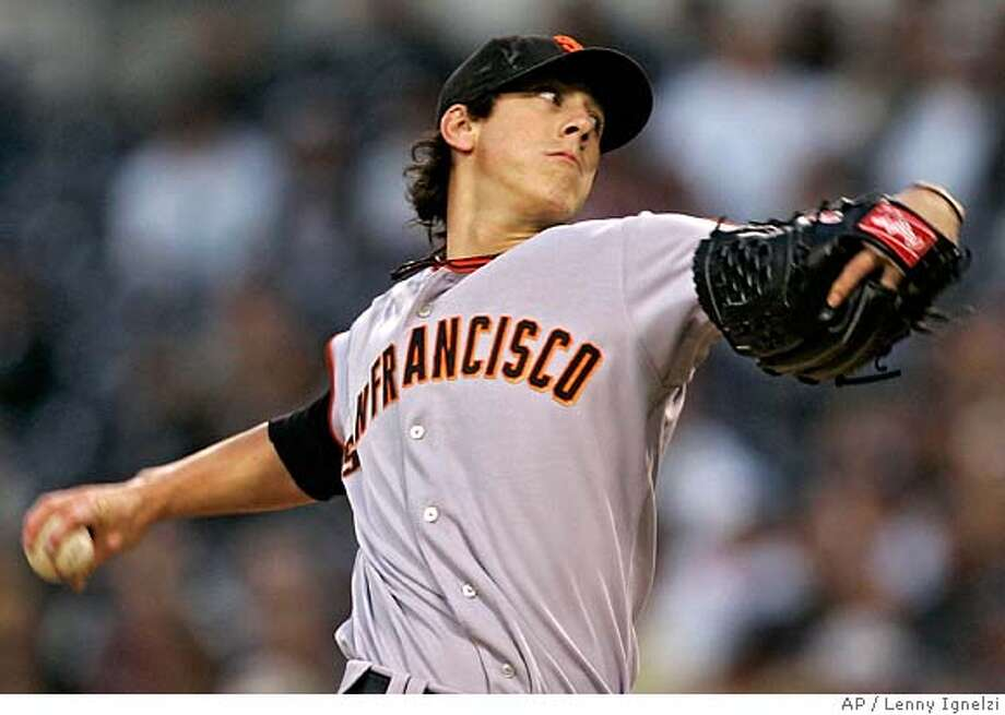 San Francisco Giants starter Tim Lincecum pitches against the San Diego Padres in the first inning of their baseball game Thursday, April 24, 2008 in San Diego. (AP Photo/Lenny Ignelzi) Photo: Lenny Ignelzi