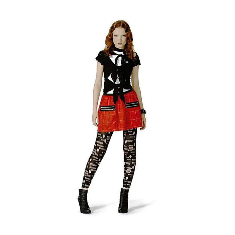 Anna Sui for Target Jenny-inspired look: Tulle tie-front top in black ($19.99), Tattersall skirt in red ($29.99) and hole leggings in black ($19.99). Photo: Courtesy Of Anna Sui