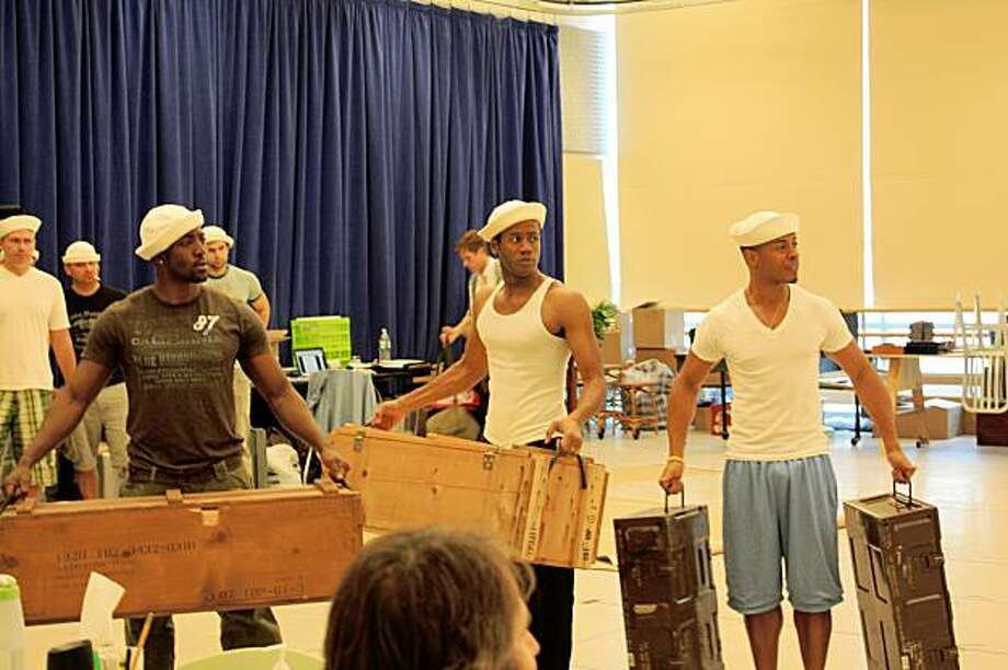 The Seabees (actors not identified) in SOUTH PACIFIC Photo: BBO
