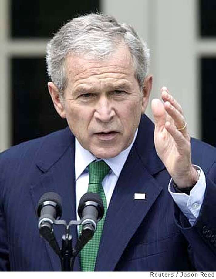 ###Live Caption:U.S. President George W. Bush speaks during a news conference in the Rose Garden of the White House in Washington April 29, 2008. REUTERS/Jason Reed (UNITED STATES)###Caption History:U.S. President George W. Bush speaks during a news conference in the Rose Garden of the White House in Washington April 29, 2008. REUTERS/Jason Reed (UNITED STATES)###Notes:U.S. President Bush at a news conference at the White House in Washington###Special Instructions: Photo: JASON REED