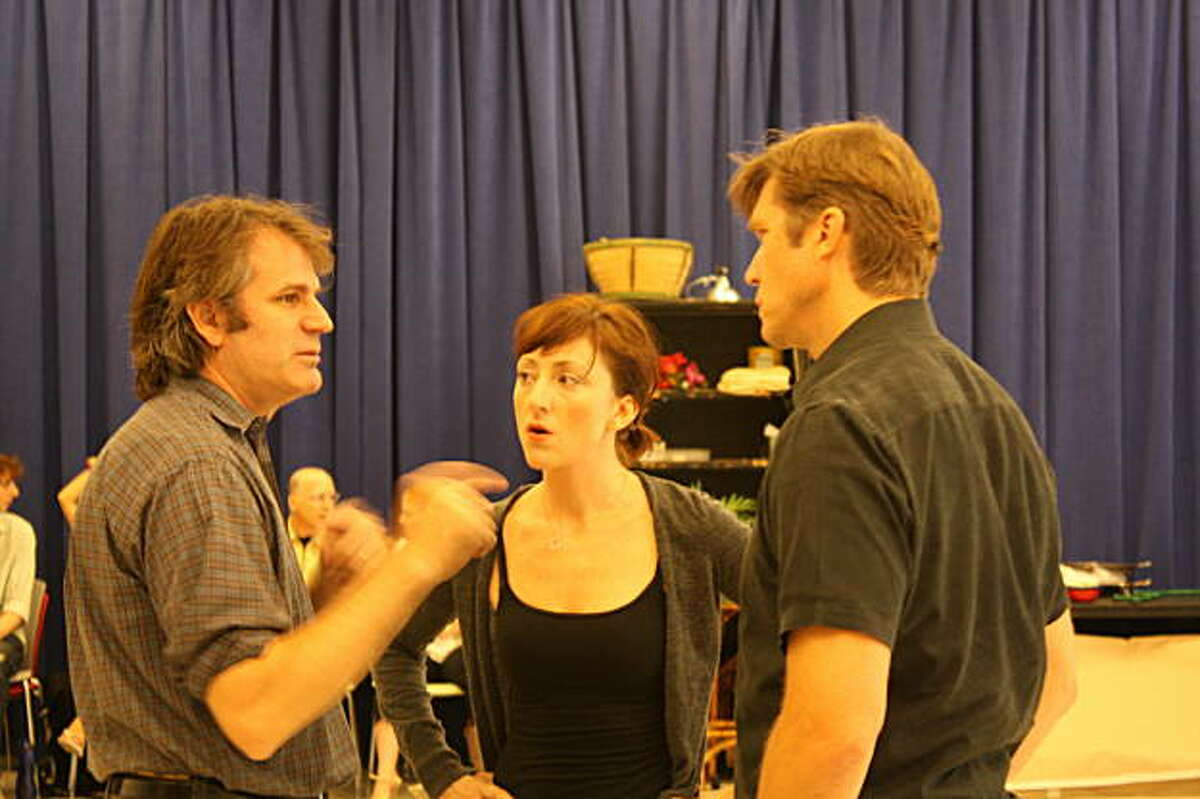 Director Bartlett Sher, Carmen Cusack (Nellie) and Rod Gilfry (Emille) in rehearsal